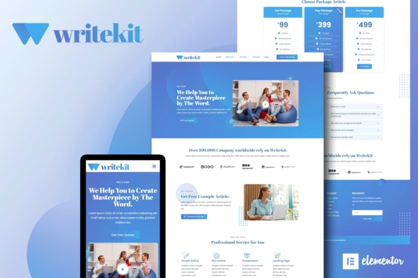 WriteKit - Content Writing Services Agency Elementor Template Kit - Business & Services Elementor