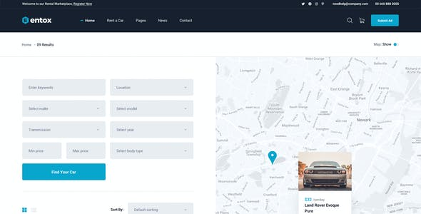 Entox - Rental Marketplace PSD Template