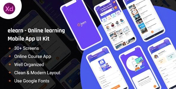 Elearn - Online Learning Mobile App UI Kit - Business Corporate