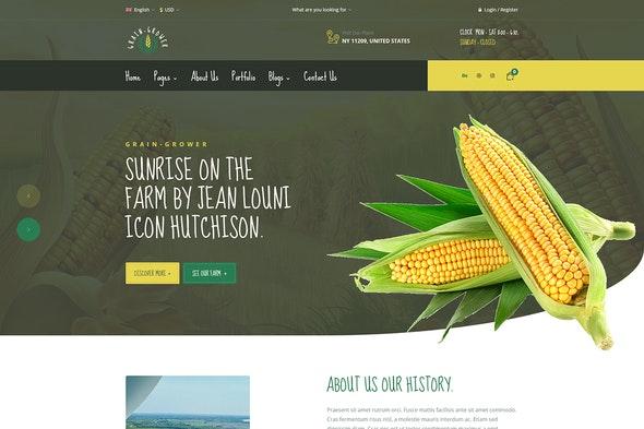 Grain Grower - Agriculture Farm & Farmers Elementor Template Kit - Food & Drink Elementor