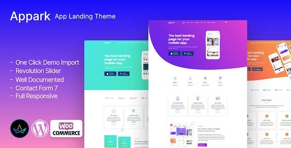 Appark - Page de destination de l'application
