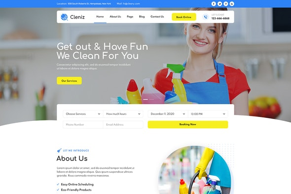 Cleniz - Cleaning Services Elementor Template Kit - Business & Services Elementor