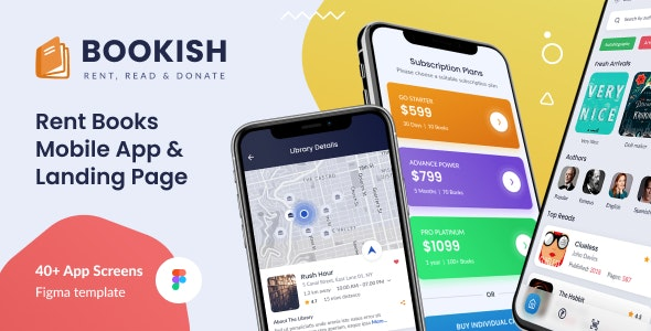 Bookish   Rent a Book - Mobile UI Screens Figma Template - Business Corporate