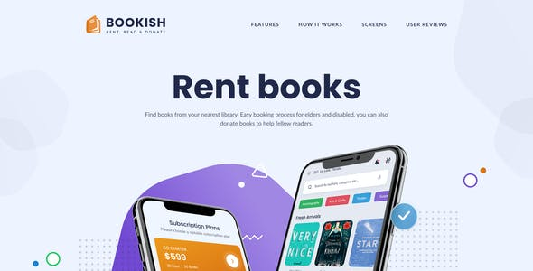 Bookish | Rent a Book - Mobile UI Screens Figma Template
