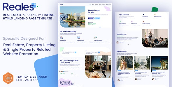 Reales - Real Estate & Property Listing HTML Landing Page Template - Business Corporate