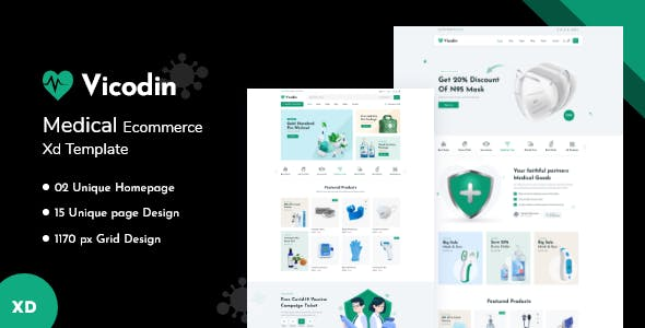 Vicodin - Medical Ecommerce XD Template