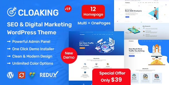 Cloaking - SEO & Digital Marketing Agency WordPress Theme - Marketing Corporate