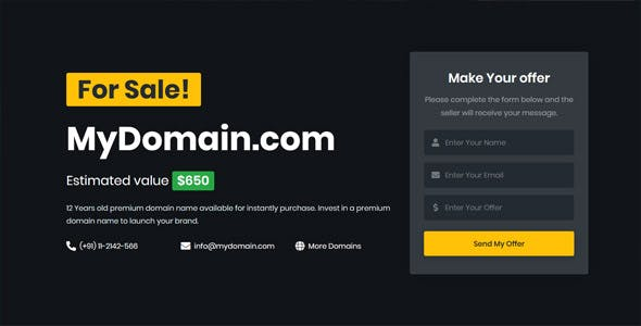 Domain for Sale HTML Template - DomainX