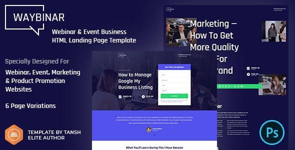 Waybinar - Webinar & Event Business HTML Landing Page Template