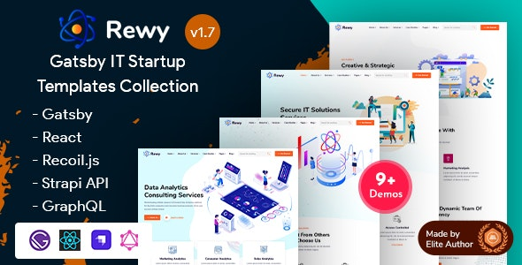 Rewy - Gatsby React IT Startup Template - Technology Site Templates