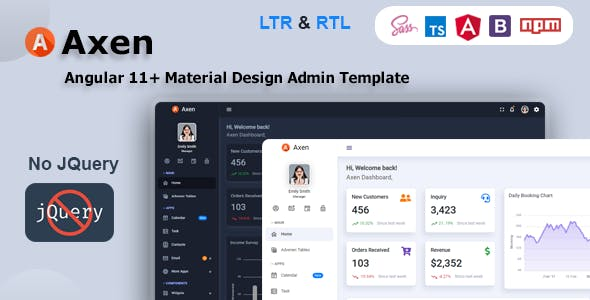 Axen - Angular 11+ Material Design Admin Dashboard Template