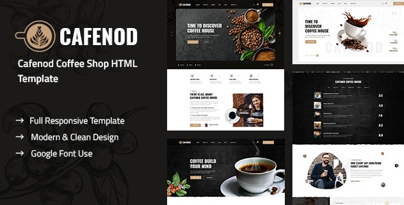 Cafenod - Coffee Shop HTML Template - Restaurants & Cafes Entertainment