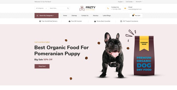 Frizty - Pet Food Store OpenCart Theme