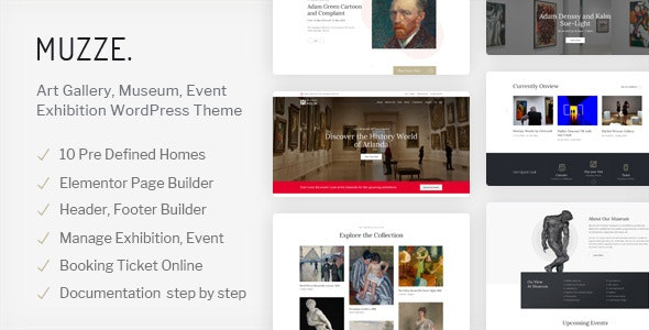 Muzze v1.3.4 – Museum Art Gallery Exhibition WordPress Theme