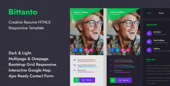 Bittanto - Creative Resume HTML5 Responsive Template - Virtual Business Card Personal