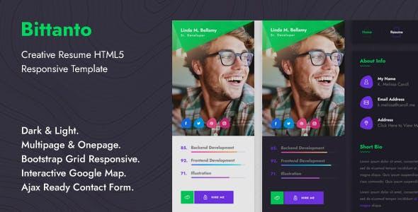 Bittanto - Creative Resume HTML5 Responsive Template