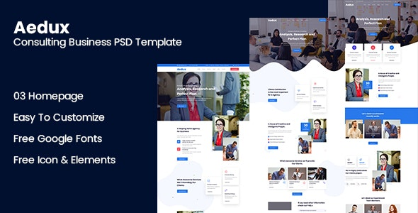Aedux Consulting Business PSD Template - Corporate Photoshop
