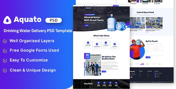 Aquato - Drinking Water Delivery PSD Template - Food Retail