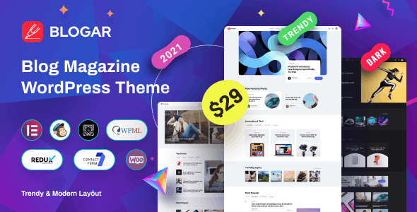 Blogar - Blog Magazine WordPress Theme