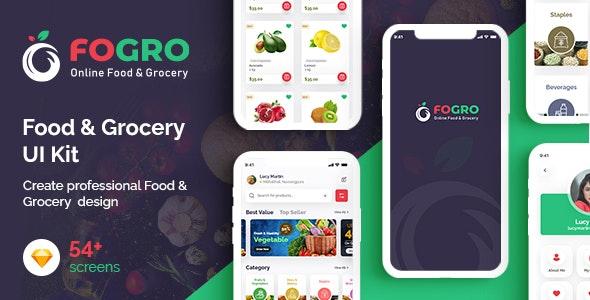 FOGRO   Food & Grocery App UI Kit for Sketch - Food Retail