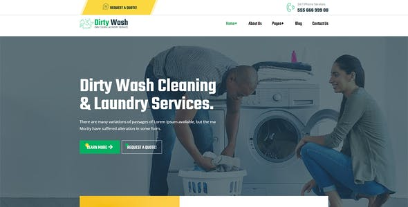 DirtyWash - Dry Cleaning & Laundry Service Elementor Template Kit