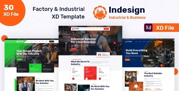 Indesign - Factory & Industrial XD Template - Business Corporate