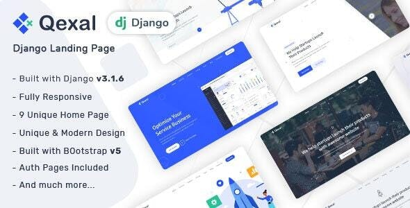 Qexal - HTML & Django Landing Page Template - Corporate Site Templates