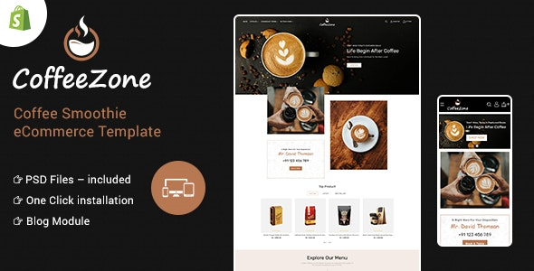 CoffeeZone Multipurpose E-commerce Shopify Template - Health & Beauty Shopify