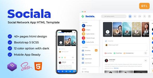 Sociala - Social Network App HTML Template - Miscellaneous Site Templates