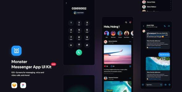 Monster-Messenger App UI Kit for Figma