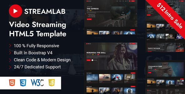 Streamlab - Video Streaming HTML5 Template