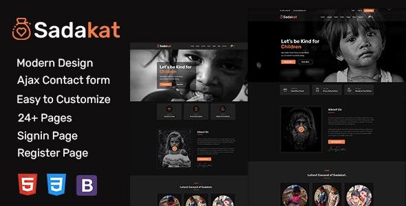 Sadakat - Charity Nonprofit HTML 5 Template - Charity Nonprofit