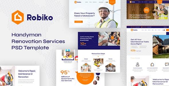 Robiko - Handyman Renovation Services PSD Template - Business Corporate