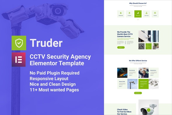 Truder - CCTV Security Service Elementor Template Kit - Business & Services Elementor