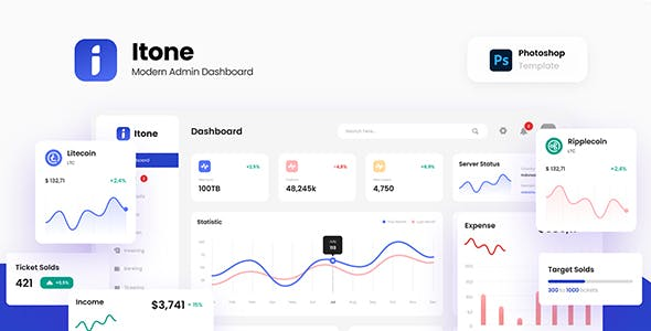 Itone - Modern and Dynamic Admin Dashboard Template PSD