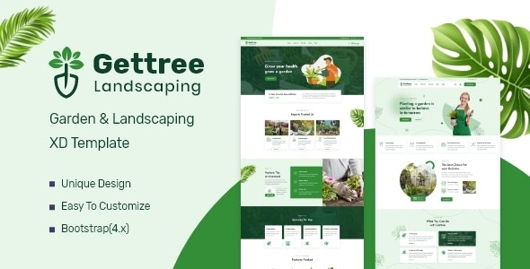 Gettree – Garden & Landscaping XD Template - Business Corporate