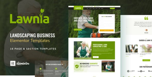 Lawnia - Gardener & Landscaping Business Elementor Template Kit