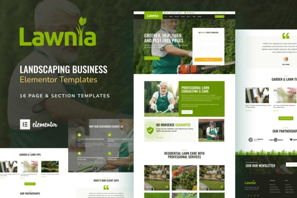 Lawnia - Gardener & Landscaping Business Elementor Template Kit - Business & Services Elementor