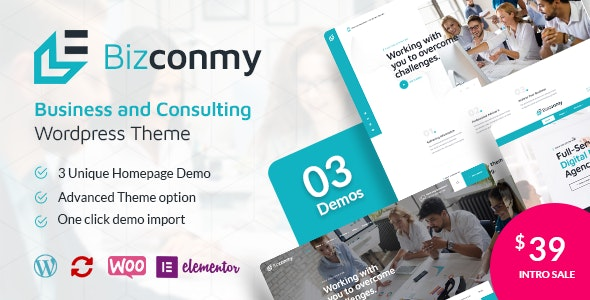 Bizconmy - Business and Consulting WordPress Theme - Business Corporate