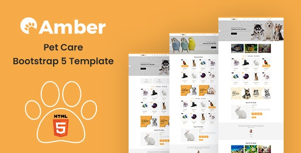 Amber - Pet Care Bootstrap 5 Template - Retail Site Templates