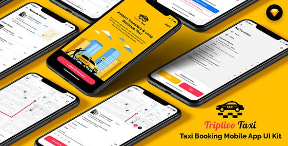 TripTivo - Taxi Booking Mobile App UI Kit