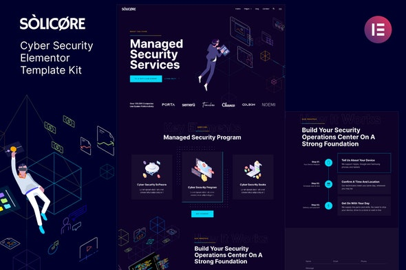 Solicore — Cyber Security Elementor Template Kit - Technology & Apps Elementor