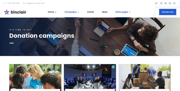 Sinclair - Political Fundraising & Donations WordPress Theme