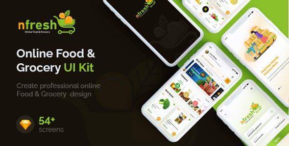 nfresh | Food & Grocery App UI Kit for Sketch