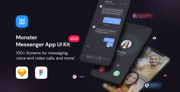 Monster-Messenger App UI Kit for Sketch