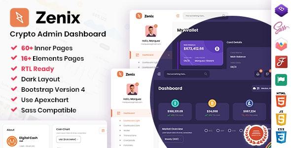 Zenix v1.0 – Crypto Bootstrap Admin Dashboard