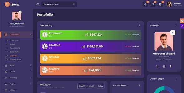 Zenix - Crypto Bootstrap Admin Dashboard