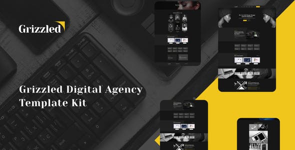 Grizzled - Digital Agency Dark Elementor Template Kit