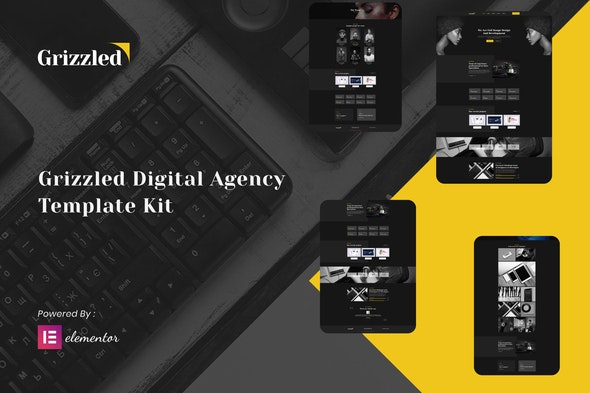 Grizzled - Digital Agency Dark Elementor Template Kit - Creative & Design Elementor