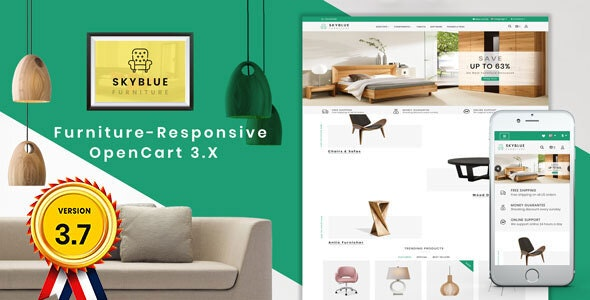 Skyblue Furniture and Home Decor OpenCart 3.x Responsive Theme - OpenCart eCommerce